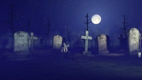 Απαίσιος θεριστής στο απόκοσμο νεκροταφείο νύχτας 4K απεικόνιση αποθεμάτων