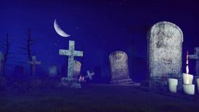 Απαίσιος θεριστής στο απόκοσμο νεκροταφείο νύχτας 4K διανυσματική απεικόνιση