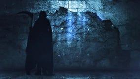 Απαίσιος τοίχος Grunge θεριστών μπλε 4K απεικόνιση αποθεμάτων