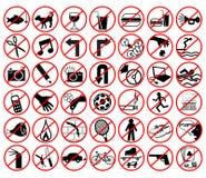 απαγορευμένα εικονίδια Στοκ Φωτογραφία