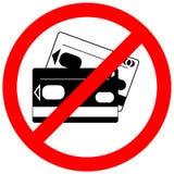 Απαγορευμένο εικονίδιο πιστωτικών καρτών, κανένα σημάδι πιστωτικών καρτών απεικόνιση αποθεμάτων
