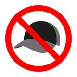 Απαγορευμένο σημάδι με το εικονίδιο ΚΑΠ Καμία headwear απαγόρευση Σύμβολο σκιαγραφιών στάσεων στοκ φωτογραφία με δικαίωμα ελεύθερης χρήσης