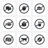 Απαγορεύοντας τα διανυσματικά εικονίδια σημαδιών καθορισμένα Στοκ εικόνα με δικαίωμα ελεύθερης χρήσης