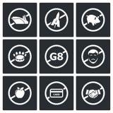 Απαγορεύοντας τα διανυσματικά εικονίδια σημαδιών καθορισμένα Στοκ φωτογραφία με δικαίωμα ελεύθερης χρήσης