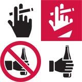 Απαγόρευση του καπνίσματος. Καμία αλκοόλη. Στοκ Εικόνες