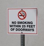 Απαγόρευση του καπνίσματος κοντά στο σημάδι πορτών Στοκ Φωτογραφίες