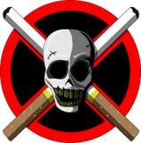 Απαγόρευση του καπνίσματος (scull και τσιγάρα) Στοκ Εικόνες