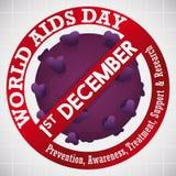 Απαγόρευση του σήματος πέρα από τον ιό HIV για τον εορτασμό Παγκόσμιας Ημέρας κατά του AIDS, διανυσματική απεικόνιση Στοκ φωτογραφίες με δικαίωμα ελεύθερης χρήσης