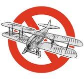 Απαγόρευση των αεροπλάνων Η ακριβής απαγόρευση στην κατασκευή των αεροσκαφών με δύο φτερά, απαγορεύει Παγκόσμιος πόλεμος στάσεων Στοκ εικόνα με δικαίωμα ελεύθερης χρήσης