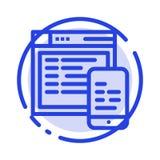 Απαντητικός, σχέδιο, ιστοχώρος, κινητό μπλε εικονίδιο γραμμών διαστιγμένων γραμμών ελεύθερη απεικόνιση δικαιώματος