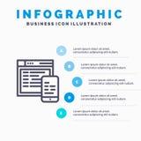Απαντητικός, σχέδιο, ιστοχώρος, κινητό μπλε πρότυπο 5 Infographics βήματα Διανυσματικό πρότυπο εικονιδίων γραμμών απεικόνιση αποθεμάτων