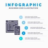 Απαντητικός, σχέδιο, ιστοχώρος, κινητό πρότυπο παρουσίασης Infographics 5 παρουσίαση βημάτων διανυσματική απεικόνιση