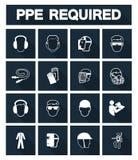 Απαραίτητος προσωπικός προστατευτικός εξοπλισμός ( PPE)  Σύμβολο, εικονίδιο ασφάλειας, διανυσματική απεικόνιση διανυσματική απεικόνιση