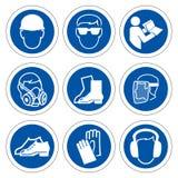 Απαραίτητος προσωπικός προστατευτικός εξοπλισμός ( PPE)  Σύμβολο, εικονίδιο ασφάλειας, διανυσματική απεικόνιση ελεύθερη απεικόνιση δικαιώματος