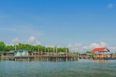 Απαρατήρητος στην Ταϊλάνδη Τοπίο του ψαροχώρι το χωριό κανένας-εδάφους στο κτύπημα Chan, στοκ φωτογραφία