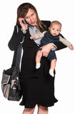 απασχολημένη γυναίκα μωρών στοκ εικόνες
