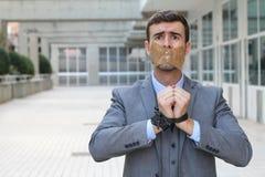 Απαχθείς επιχειρηματίας με το διάστημα αντιγράφων στοκ φωτογραφία με δικαίωμα ελεύθερης χρήσης