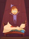 Απείθαρχο παιδί στις πυτζάμες που πηδά στο Unmade κρεβάτι απεικόνιση αποθεμάτων