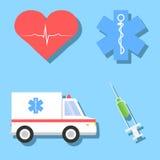 Απεικονίσεις κινούμενων σχεδίων των ιατρικών σχετικών αντικειμένων Στοκ φωτογραφία με δικαίωμα ελεύθερης χρήσης