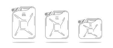 Απεικονίσεις μεταλλικών κουτιών πετρελαίου, γραμμικός γραφικός με την ικανότητα λίτρου διανυσματική απεικόνιση