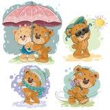 Απεικονίσεις τέχνης συνδετήρων της teddy αρκούδας και διαφορετικές εποχές ελεύθερη απεικόνιση δικαιώματος