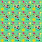 Απεικόνιση άνευ ραφής με την εικόνα των βουρτσών με τα χρώματα και των κτυπημάτων βουρτσών σε ένα πράσινο υπόβαθρο Στοκ Φωτογραφία
