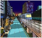 Απεικόνιση άποψης οδών της αστικής κατοικήσιμης περιοχής με τη γραμμή μετρό overground Στοκ Φωτογραφίες