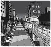 Απεικόνιση άποψης οδών της αστικής κατοικήσιμης περιοχής με τη γραμμή μετρό overground Στοκ Εικόνες