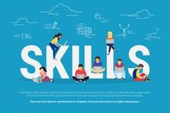 Απεικόνιση έννοιας ανάπτυξης δεξιοτήτων των επιχειρηματιών που χρησιμοποιούν τις συσκευές για τη σκληρή δουλειά και την επαγγελμα Στοκ Εικόνες