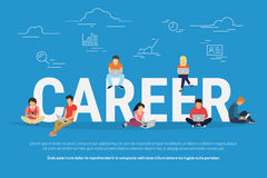 Απεικόνιση έννοιας σταδιοδρομίας των επιχειρηματιών που χρησιμοποιούν τις συσκευές για την έρευνα εργασίας και την επαγγελματική  Στοκ Εικόνες
