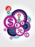 Απεικόνιση έννοιας συμβόλων παγκόσμιου νομίσματος Στοκ Εικόνα