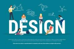 Απεικόνιση έννοιας σχεδίου των νέων που χρησιμοποιούν το lap-top διανυσματική απεικόνιση