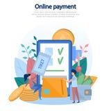Απεικόνιση έννοιας της σε απευθείας σύνδεση πληρωμής της διαταγής, αγορά των υπηρεσιών, αγορά των αγαθών, cashless πληρωμές, κινη απεικόνιση αποθεμάτων