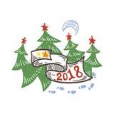 απεικόνιση έτους του 2018 doodle με το φεγγάρι και τα νέα δέντρα έτους Στοκ Εικόνες