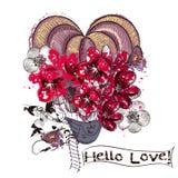 Απεικόνιση ή κάρτα με το μπαλόνι αέρα που δημιουργείται από τα λουλούδια στο wa Στοκ Φωτογραφία