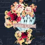 Απεικόνιση ή κάρτα με το μπαλόνι αέρα που δημιουργείται από τα λουλούδια στο wa Στοκ Εικόνες