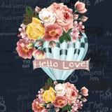 Απεικόνιση ή κάρτα με το μπαλόνι αέρα που δημιουργείται από τα λουλούδια Στοκ Εικόνες