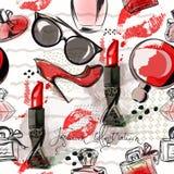 Απεικόνιση ή σχέδιο μόδας με το κόκκινο κραγιόν, παπούτσια, γυαλί Στοκ Εικόνες