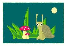 Απεικόνιση λίγο σαλιγκάρι και τα μανιτάρια Στοκ φωτογραφία με δικαίωμα ελεύθερης χρήσης