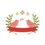 Απεικόνιση αγάπης πουλιών με την κορδέλλα και το λουλούδι Στοκ Εικόνες