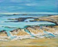 Απεικόνιση αγγλικό seascape με τους βράχους κιμωλίας Στοκ εικόνες με δικαίωμα ελεύθερης χρήσης