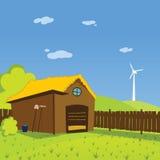Απεικόνιση αγροτικού υποβάθρου κινούμενων σχεδίων Στοκ Εικόνες