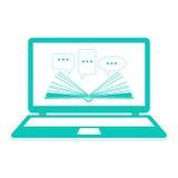 απεικόνιση Ανάγνωση των ε-βιβλίων να μάθει on-line Ανοικτό έγγραφο βιβλίων με τα λεκτικά σύννεφα στο lap-top Επίπεδο σχέδιο Στοκ Φωτογραφίες