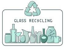 Απεικόνιση ανακύκλωσης γυαλιού με τα απορρίμματα και εγγραφή Στοκ φωτογραφίες με δικαίωμα ελεύθερης χρήσης