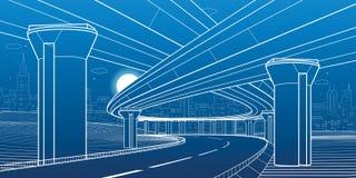 Απεικόνιση αρχιτεκτονικής και υποδομής πόλεων, αυτοκίνητο overpass, μεγάλες γέφυρες, αστική σκηνή Πόλη νύχτας Άσπρες γραμμές στο  ελεύθερη απεικόνιση δικαιώματος