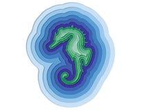 Απεικόνιση βαλμένη σε στρώσεις seahorse στον ωκεανό Στοκ φωτογραφίες με δικαίωμα ελεύθερης χρήσης