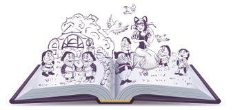 απεικόνιση βιβλίων ανοικ& Λευκοί σαν το χιόνι και 7 νάνοι παραμυθιού ελεύθερη απεικόνιση δικαιώματος