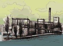 Απεικόνιση βιομηχανικού κτηρίου Στοκ Φωτογραφία