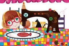 Απεικόνιση για τα παιδιά: Κορίτσι ράβοντας μηχανών Στοκ Εικόνες