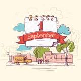 Απεικόνιση για την 1η Σεπτεμβρίου διακοπών Στοκ εικόνες με δικαίωμα ελεύθερης χρήσης